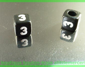number 3 cube bead 6 mm black and white plastic