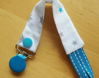 Pacifier clip blue and grey stars