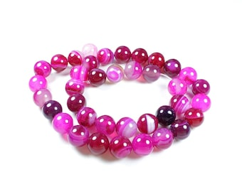 Natural Agate beads 5 shades of pink Fuchsia 10mm