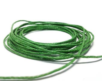 Green 0.7 mm waxed cotton cord