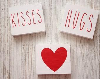 Hugs and Kisses Mini Blocks, Rae Dun inspired blocks, Valentines decor, Rae Dunn inspired Valentines