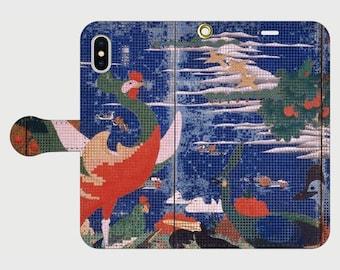 "Wallet Phone case ""Ito Jakuchu ""Birds, Animals and Flowering Plants (Left Side Phoenix)"""