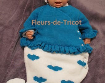Sleeping bag knitting baby cloud blue and white