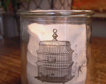 Candle glass sticker industrial writing swallow bird cage card postcard postage shabby vibe black ink