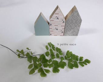 Set of 3 Lavender sachets in wood, shades of green, pink and gray; Scandinavian atmosphere