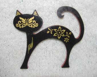 Cat silhouette black and gold