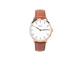 Women's Rose Gold Fraser Classic Watch w/ Tan Strap (Unisex)