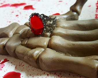 Blood Red Filigree Ring