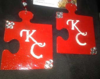 Hand painted wood puzzle piece KC earrings red n clear swarovski crystals.