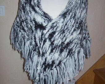 black and white hand knitted shawl