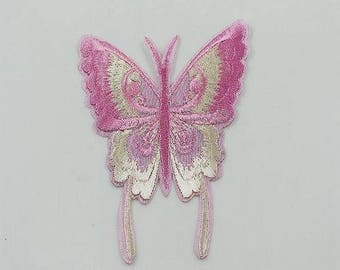 Butterfly motif applique patch pink embroidery, sewing fusible