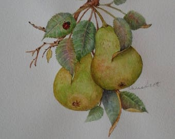 Green Pears and Lady Bug