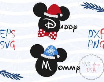 New Year Mickey Mouse Mom and Dad  Svg Dxf Png Eps cut files for Cutting Machines Cameo or Cricut