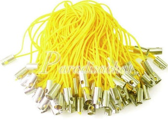 set of 10 Strap / yellow strap 5 cm for deco cell phone, NPC or bag