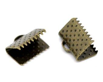 10mm - Pack 50 caps claw/cap for 10 mm Ribbon / clip crimp bronze