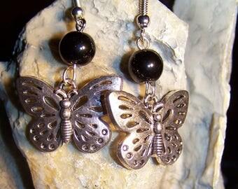 Earrings Butterfly & Black glass beads
