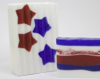 Organic Star Patriotic Coconut Oil Orange and Blueberry Scented Bar Soap