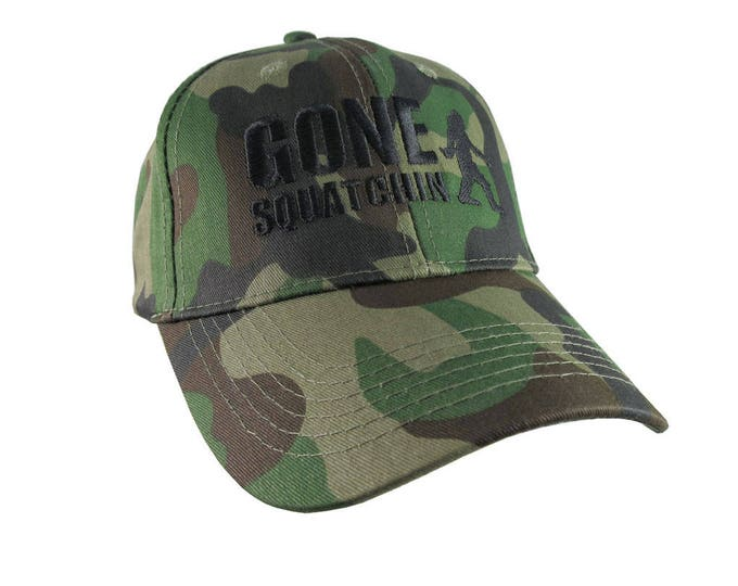 Gone Squatchin Black Sasquatch Bigfoot Humorous Embroidery Design on a Green Camo Adjustable Structured Baseball Cap for Kids Age 6 to 14