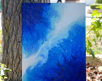 Effusion- Original blue, teal, and white abstract fluid art painting