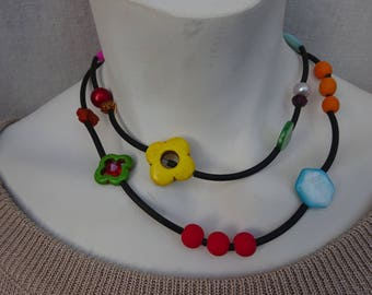 Black rubber Tubes, multicolored beads necklace