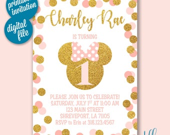 Gold & Pink Minnie Mouse Birthday Invitation