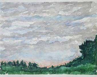 """Original Forest 11x15"""" Watercolor Painting-Lake Series 4"""