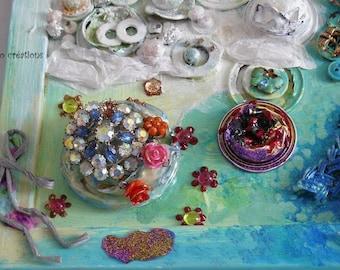 upcycled table ' art 4 seasons