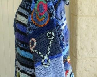 large freeform crocheted hooded jacket