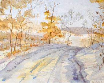 Snowy Path Watercolor Painting