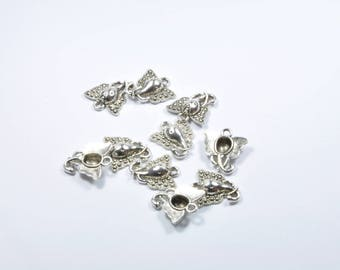 BR869 - Set of 10 silver tone elephant charms