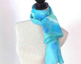 Blue and green tie-dye silk scarf