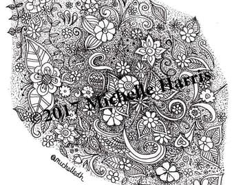 Original Hand Drawn Zentangle Art, Zentangle flowers Print