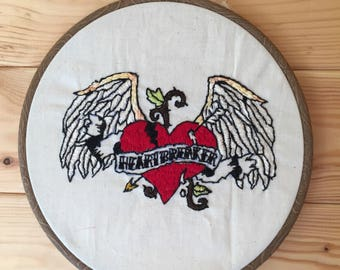 Heart breaker tattoo embroidery