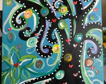 Acrylic Whimsical Tree Painting on Canvas