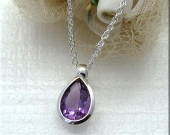 Silver Amethyst Teardrop Pendant Necklace, Sterling Silver  Amethyst Jewelry, Gift for Wife
