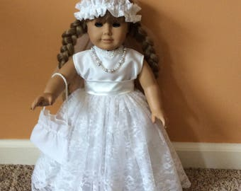 "Handmade to fit American Girl 18"" Doll Wedding Dress-5 piece Outfit"