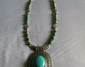 Crystal & Glass Necklace with Tibetan Silver Wrapped Man-made Turquoise Pendant