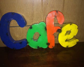 Recycled Metal Cafe Sign / Word