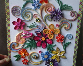 quilled flowers quilling creation, 24 x 30 cm, rigid canvas frame, room child, arabesque, scrapboopking; quilling personalized, gift