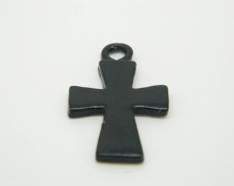 1 x charm gunmetal cross 23mm (l885)