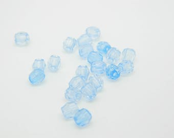 x 400 beads 4mm blue faceted (l1237)