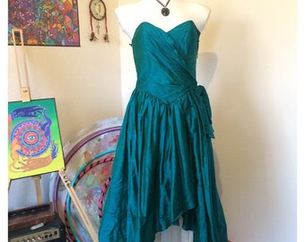True Vintage 1980s Monsoon 'Twilight' Metallic Teal Prom/Party Dress size 10/12