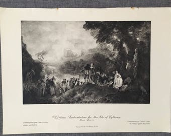 Watteau. Embarkation for Isle of Cythera 1920's antique print