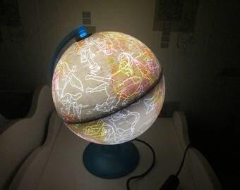 Vintage Italian globe, Globe lamp,Shining Globe,Vintage world map,Desk globe with lighting,World globe lamp,Night sky map,Constellations map