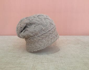 Cotton and Linen Hand-knit Slouchy Hat