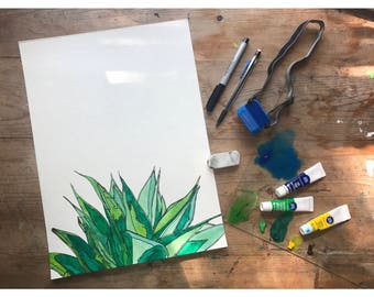 Succulent - 14 x 11 - Original - Watercolor & Ink Painting