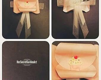 Cupcake Flower & Ribbon Paper Hairclip