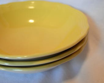 """Ironstone Buttercup Federalist Set of 3 Bowls, 6.75"""", Vintage Yellow Bowls, 1960s"""