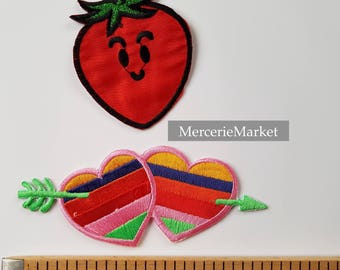 set of 2 badges, patch, fusible, heart, strawberry, red.
