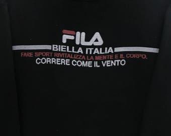 Rare!!! Fila Pullover Embroidered Spellout Small Logo